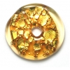 Glass Lamp Bead 26x26mm Ring Gold